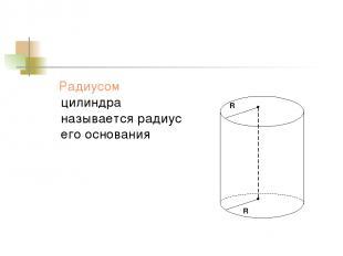 Радиусом цилиндра называется радиус его основания R R