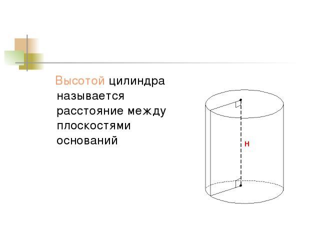 Высотой цилиндра называется расстояние между плоскостями оснований Н