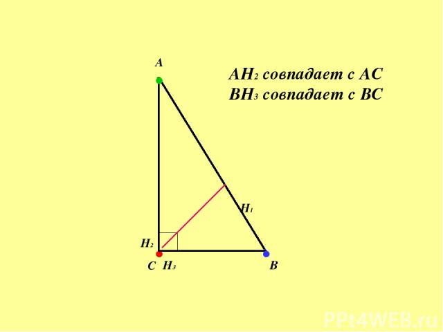 . H1 H2 . H3 . А B C AH2 совпадает с АС BH3 совпадает с ВС