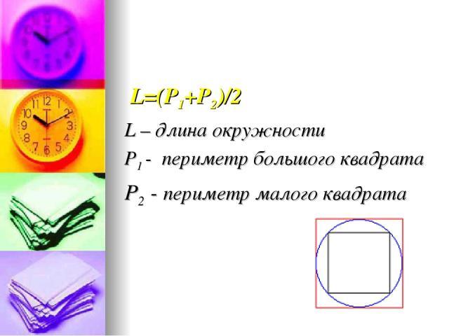 L=(Р1+Р2)/2 L – длина окружности Р1 - периметр большого квадрата Р2 - периметр малого квадрата