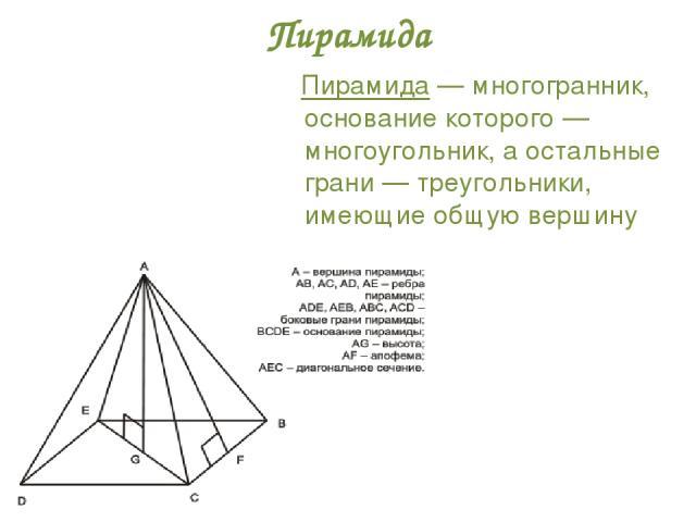 Пирамида Пирамида — многогранник, основание которого — многоугольник, а остальные грани — треугольники, имеющие общую вершину