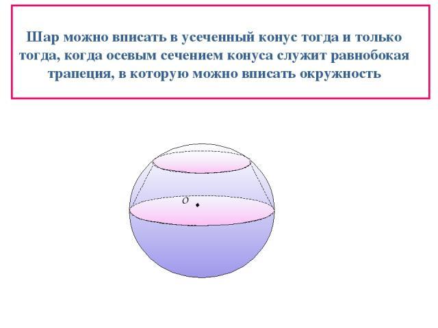 Шар можно вписать в усеченный конус тогда и только тогда, когда осевым сечением конуса служит равнобокая трапеция, в которую можно вписать окружность