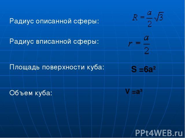 Радиус описанной сферы: Радиус вписанной сферы: Площадь поверхности куба:  Объем куба: S =6a2 V =a3
