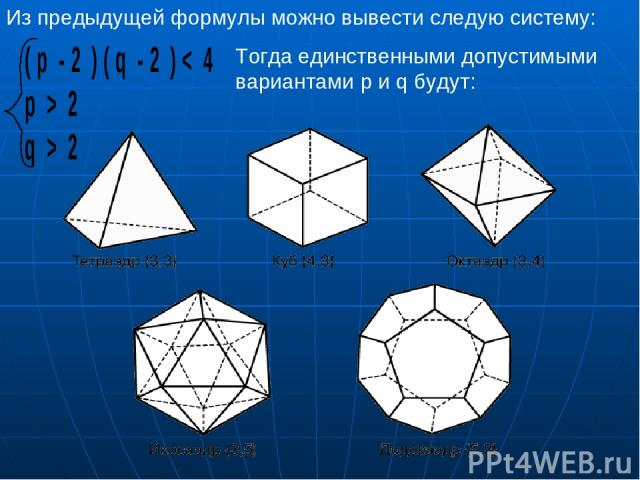 Из предыдущей формулы можно вывести следую систему: Тогда единственными допустимыми вариантами p и q будут: