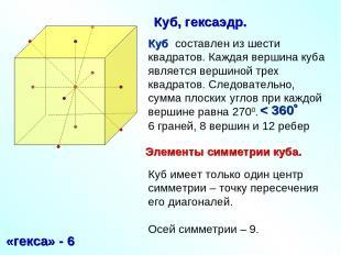 Куб составлен из шести квадратов. Каждая вершина куба является вершиной трех ква