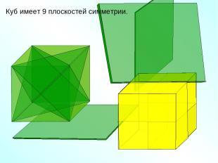 Куб имеет 9 плоскостей симметрии.