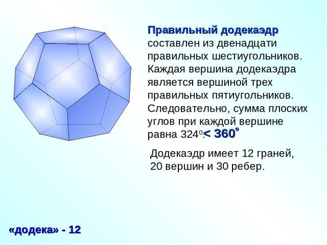 Правильный додекаэдр составлен из двенадцати правильных шестиугольников. Каждая вершина додекаэдра является вершиной трех правильных пятиугольников. Следовательно, сумма плоских углов при каждой вершине равна 3240. «додека» - 12 Додекаэдр имеет 12 г…