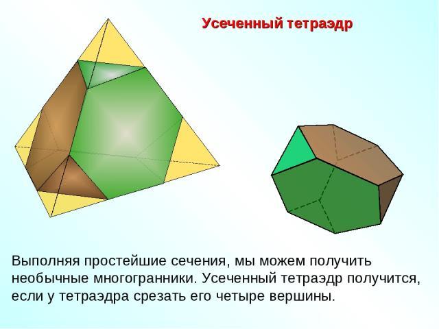 Усеченный тетраэдр Выполняя простейшие сечения, мы можем получить необычные многогранники. Усеченный тетраэдр получится, если у тетраэдра срезать его четыре вершины.