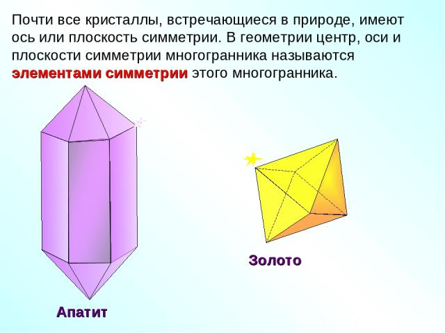 Почти все кристаллы, встречающиеся в природе, имеют ось или плоскость симметрии. В геометрии центр, оси и плоскости симметрии многогранника называются элементами симметрии этого многогранника. Золото