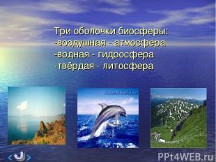 Три оболочки биосферы: -воздушная - атмосфера -водная - гидросфера -твёрдая - ли