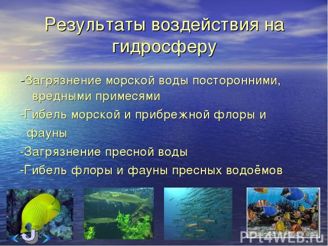 Результаты воздействия на гидросферу -Загрязнение морской воды посторонними, вредными примесями -Гибель морской и прибрежной флоры и фауны -Загрязнение пресной воды -Гибель флоры и фауны пресных водоёмов