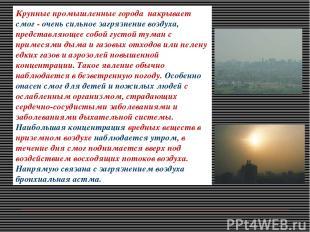 Крупные промышленные города накрывает смог - очень сильное загрязнение воздуха,