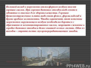 Большой вклад в загрязнение атмосферного воздуха вносят горящие свалки. При горе