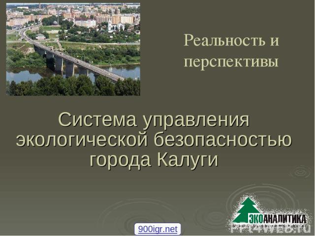 Система управления экологической безопасностью города Калуги Реальность и перспективы 900igr.net