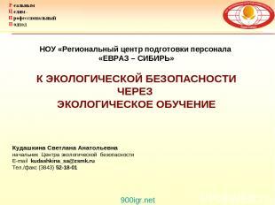 Кудашкина Светлана Анатольевна начальник Центра экологической безопасности E-mai