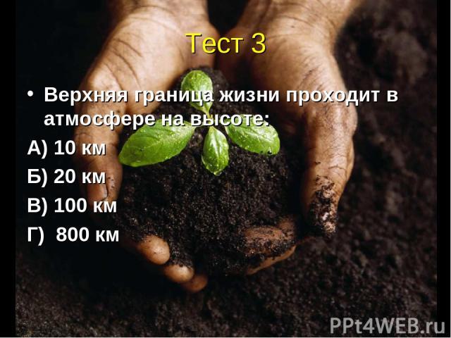 Тест 3 Верхняя граница жизни проходит в атмосфере на высоте: А) 10 км Б) 20 км В) 100 км Г) 800 км