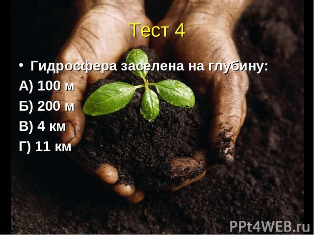 Тест 4 Гидросфера заселена на глубину: А) 100 м Б) 200 м В) 4 км Г) 11 км