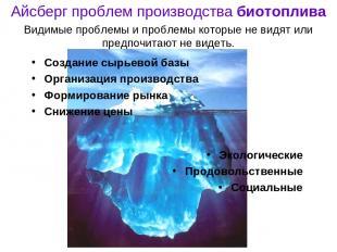 Айсберг проблем производства биотоплива Создание сырьевой базы Организация произ