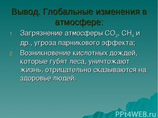 Вывод. Глобальные изменения в атмосфере: Загрязнение атмосферы CO2, CH4 и др., у