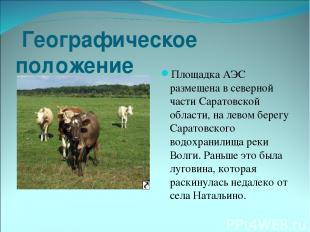 Географическое положение Площадка АЭС размещена в северной части Саратовской обл