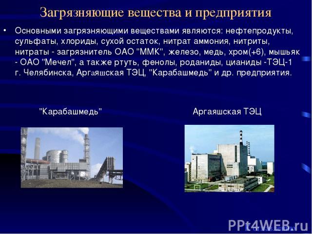 Загрязняющие вещества и предприятия Основными загрязняющими веществами являются: нефтепродукты, сульфаты, хлориды, сухой остаток, нитрат аммония, нитриты, нитраты - загрязнитель ОАО