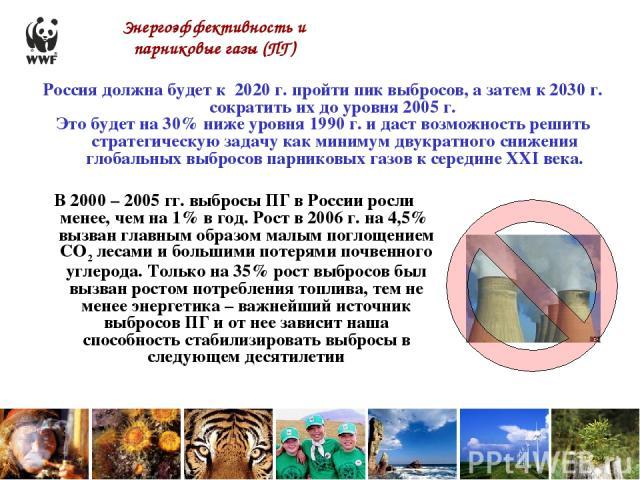 Энергоэффективность и парниковые газы (ПГ) В 2000 – 2005 гг. выбросы ПГ в России росли менее, чем на 1% в год. Рост в 2006 г. на 4,5% вызван главным образом малым поглощением СО2 лесами и большими потерями почвенного углерода. Только на 35% рост выб…