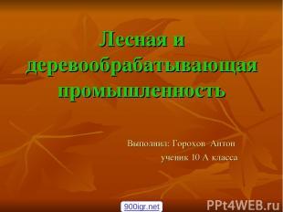 Лесная и деревообрабатывающая промышленность Выполнил: Горохов Антон ученик 10 А