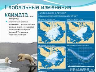 Глобальные изменения климата Арктика тает быстрее, чем Антарктида Космические сн