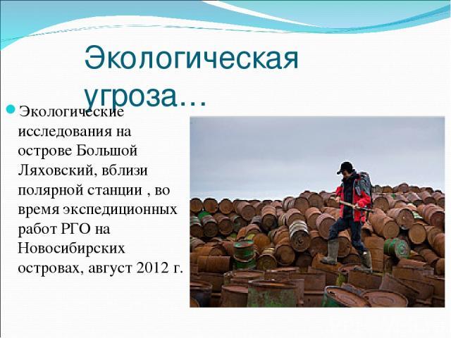Экологическая угроза… Экологические исследования на острове Большой Ляховский, вблизи полярной станции , во время экспедиционных работ РГО на Новосибирских островах, август 2012 г.