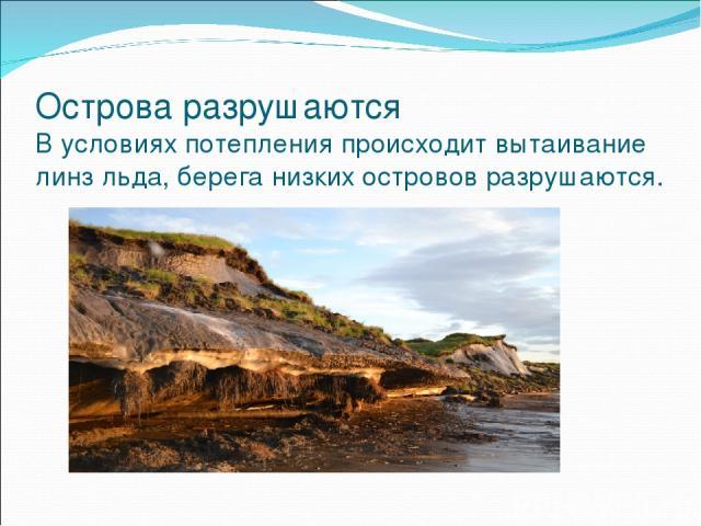 Острова разрушаются В условиях потепления происходит вытаивание линз льда, берега низких островов разрушаются.