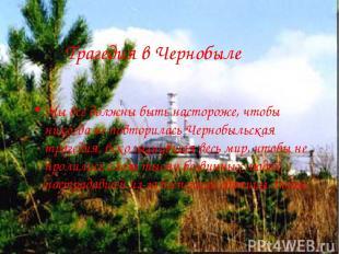 Трагедия в Чернобыле Мы все должны быть настороже, чтобы никогда не повторилась