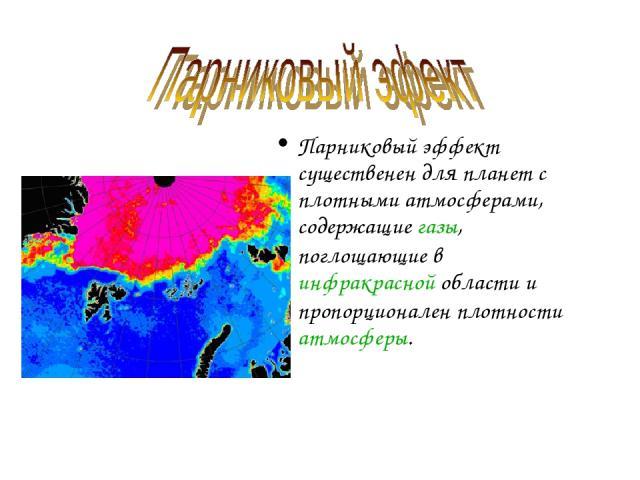 Парниковый эффект существенен для планет с плотными атмосферами, содержащие газы, поглощающие в инфракрасной области и пропорционален плотности атмосферы.