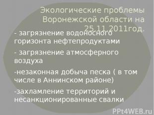 Экологические проблемы Воронежской области на 25.11.2011год. - загрязнение водон