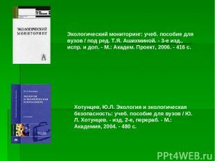 Экологический мониторинг: учеб. пособие для вузов / под ред. Т.Я. Ашихминой. - 3