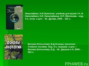 Николайкин, Н.И.Экология: учебник для вузов / Н. И. Николайкин, Н.Е. Николайкина