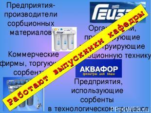 Предприятия-производители сорбционных материалов Коммерческие фирмы, торгующие с