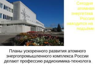 Сегодня атомная энергетика России находится на подъёме Планы ускоренного развити