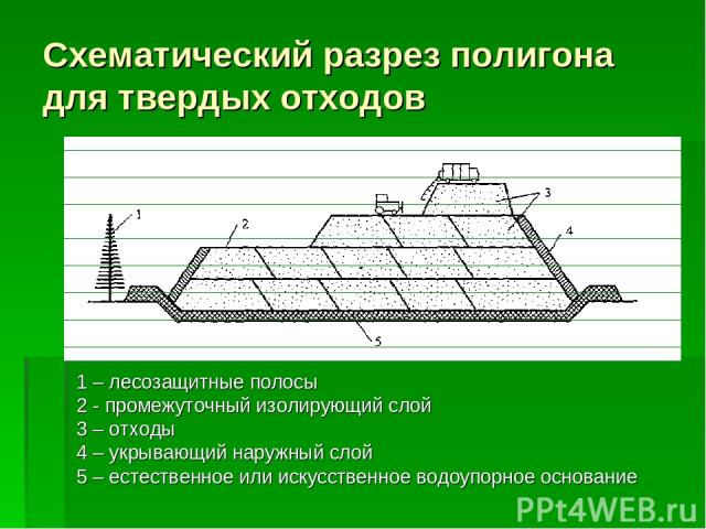 Схематический разрез полигона для твердых отходов 1 – лесозащитные полосы 2 - промежуточный изолирующий слой 3 – отходы 4 – укрывающий наружный слой 5 – естественное или искусственное водоупорное основание