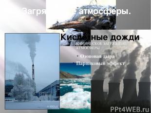 Загрязнение атмосферы. Кислотные дожди ХИМИЧЕСКОЕ ЗАГРЯЗНЕИЕ АТМОСФЕРЫ Озоновая