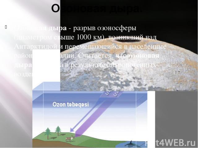 Озоновая дыра. Озоновая дыра - разрыв озоносферы (диаметром свыше 1000 км), возникший над Антарктидой и перемещающийся в населенные районы Австралии. Считается, что озоновая дыра возникла в результате антропогенных воздействий.