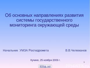 * Начальник УМЗА Росгидромета В.В.Челюканов Об основных направлениях развития си