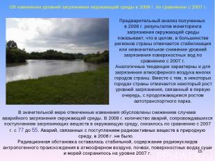 * Предварительный анализ полученных в 2008 г. результатов мониторинга загрязнени