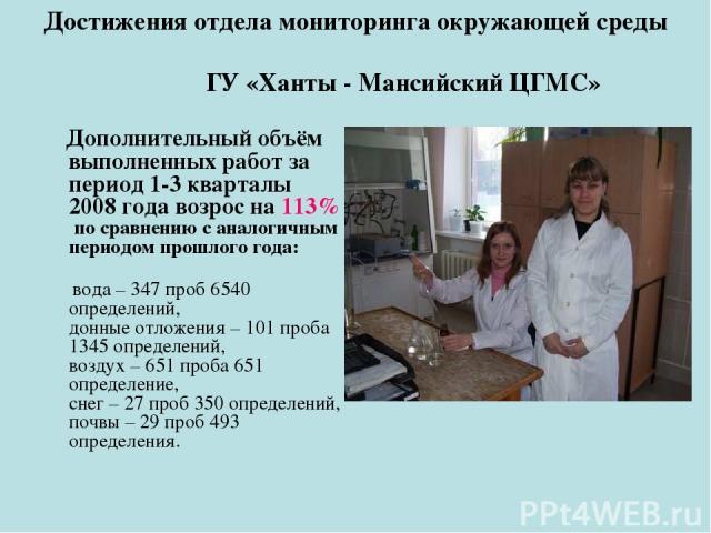 Достижения отдела мониторинга окружающей среды ГУ «Ханты - Мансийский ЦГМС» Дополнительный объём выполненных работ за период 1-3 кварталы 2008 года возрос на 113% по сравнению с аналогичным периодом прошлого года: вода – 347 проб 6540 определений, д…