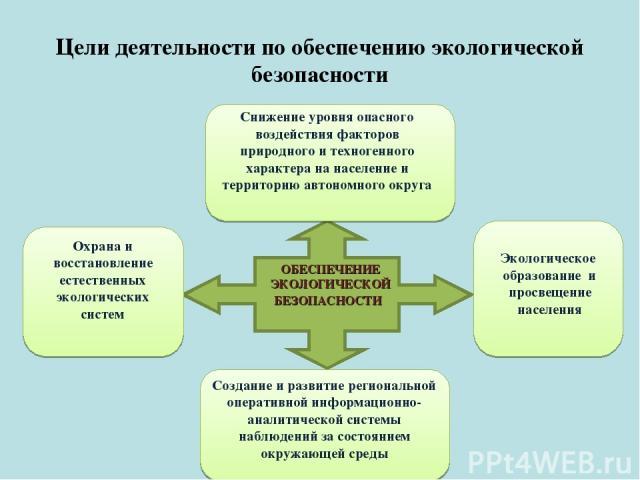 Цели деятельности по обеспечению экологической безопасности