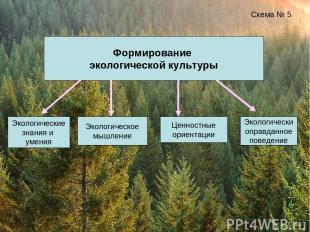 Формирование экологической культуры Схема № 5 Экологические знания и умения Экол