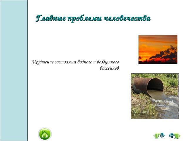 Ухудшение состояния водного и воздушного бассейнов Главные проблемы человечества
