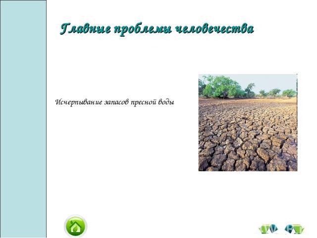 Исчерпывание запасов пресной воды Главные проблемы человечества