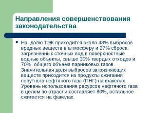 Направления совершенствования законодательства На долю ТЭК приходится около 48%
