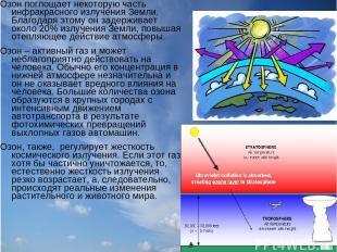 Озон поглощает некоторую часть инфракрасного излучения Земли. Благодаря этому он