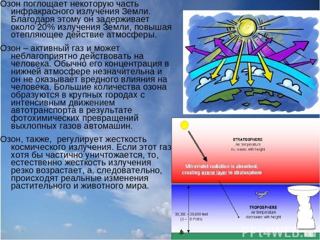 Озон поглощает некоторую часть инфракрасного излучения Земли. Благодаря этому он задерживает около 20% излучения Земли, повышая отепляющее действие атмосферы. Озон – активный газ и может неблагоприятно действовать на человека. Обычно его концентраци…